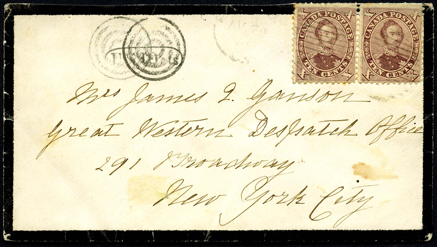 CANADA 1867  SG38 Cover from Brantford to New York double rate