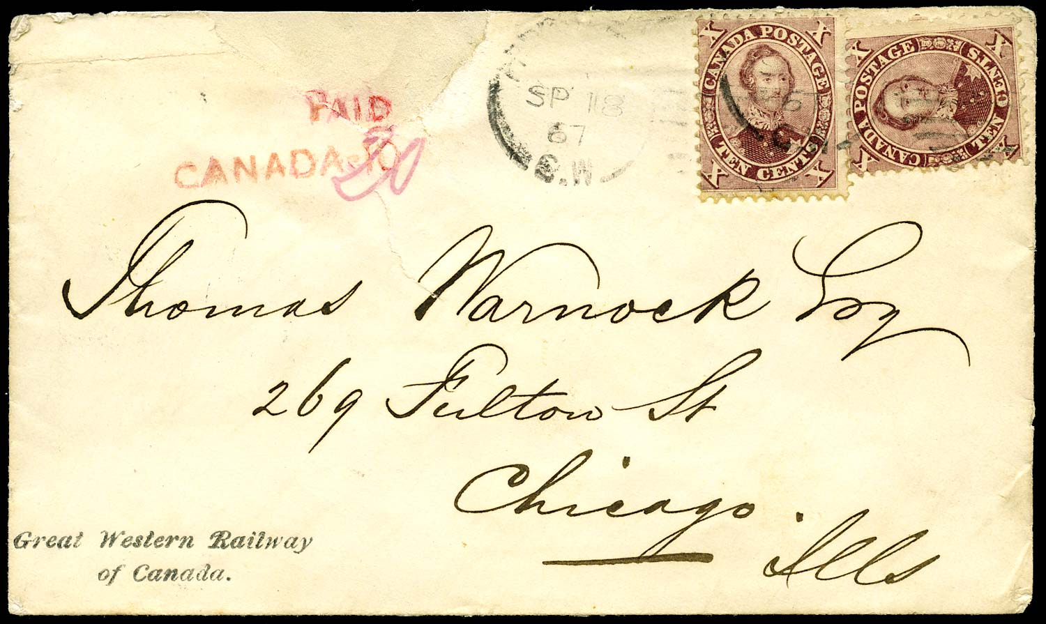 CANADA 1866  SG38 Cover with Great Western Railway of Canada imprint