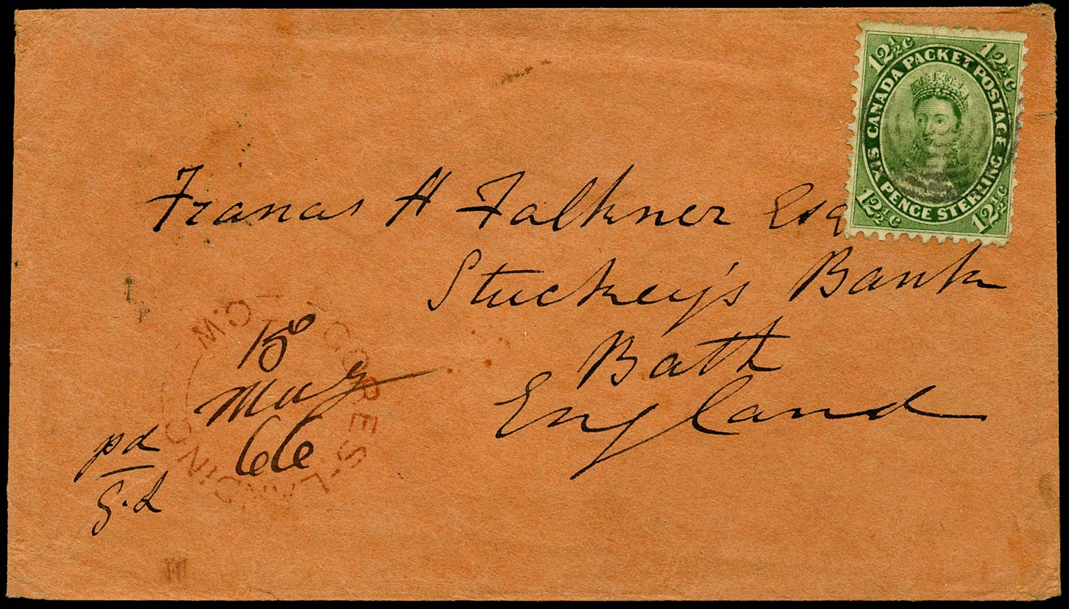 CANADA 1866  SG39 Cover from Gores Landing to England at 12½c rate