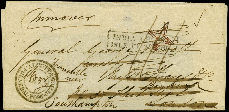 GB 1823 Pre-Stamp - IOW India Letter