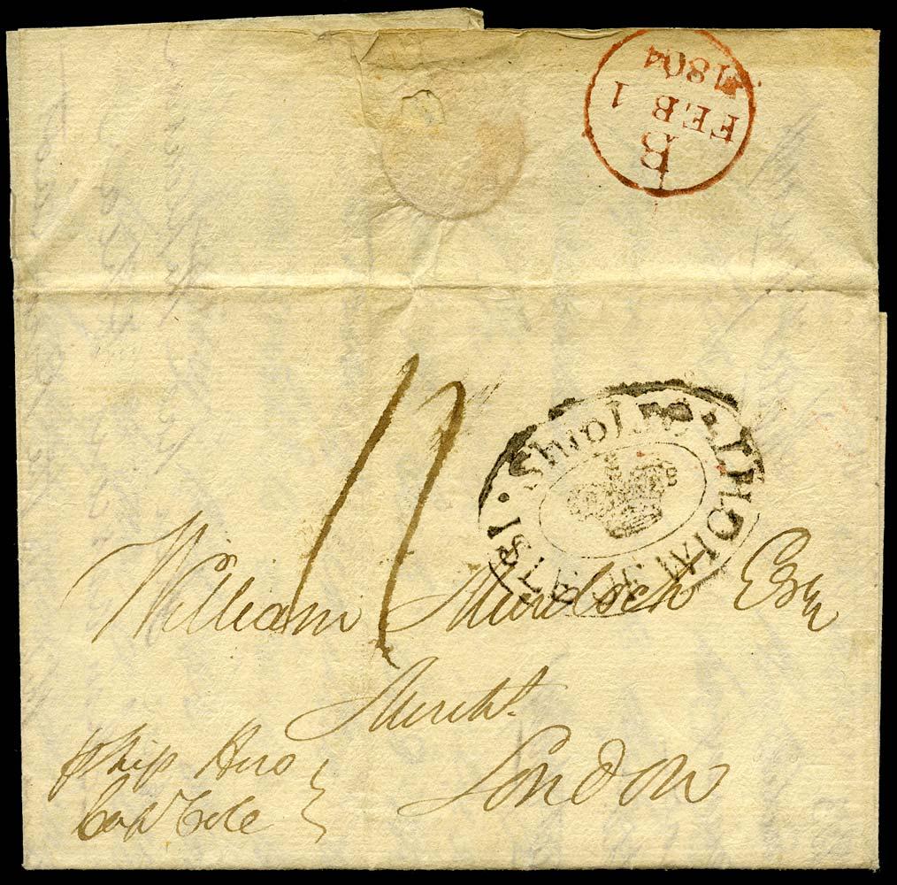 GB 1804 Pre-Stamp - IOW Ship Letter