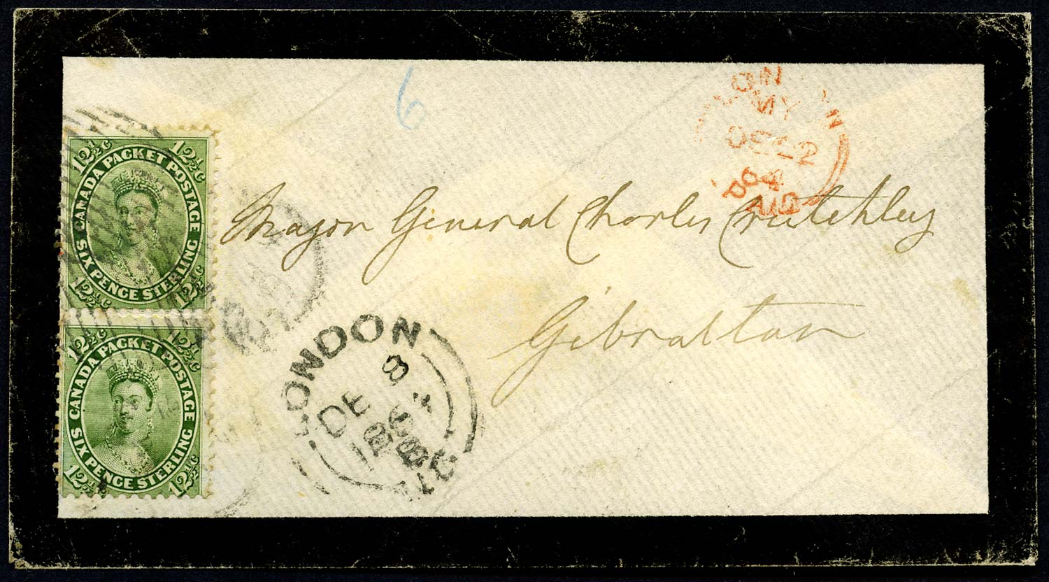 CANADA 1864  SG40 Cover from London, Ont, to GIBRALTAR at 23c rate