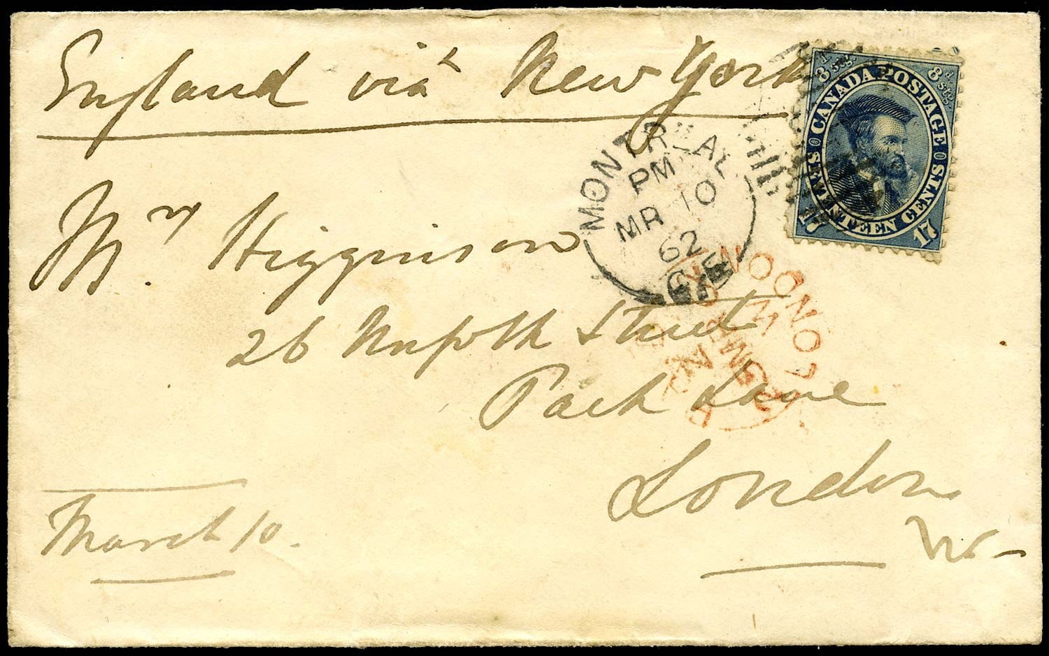 CANADA 1863  SG42 Cover from Montreal to England franked 17c Cartier