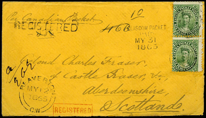 CANADA 1865  SG41 Cover registered from Beaverton to Castle Fraser