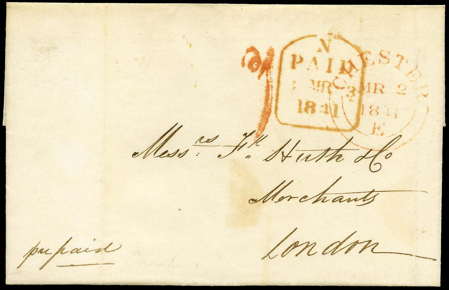 GB 1841 Pre-Stamp - Chester Uniform Penny Post 'd1' (Type a)