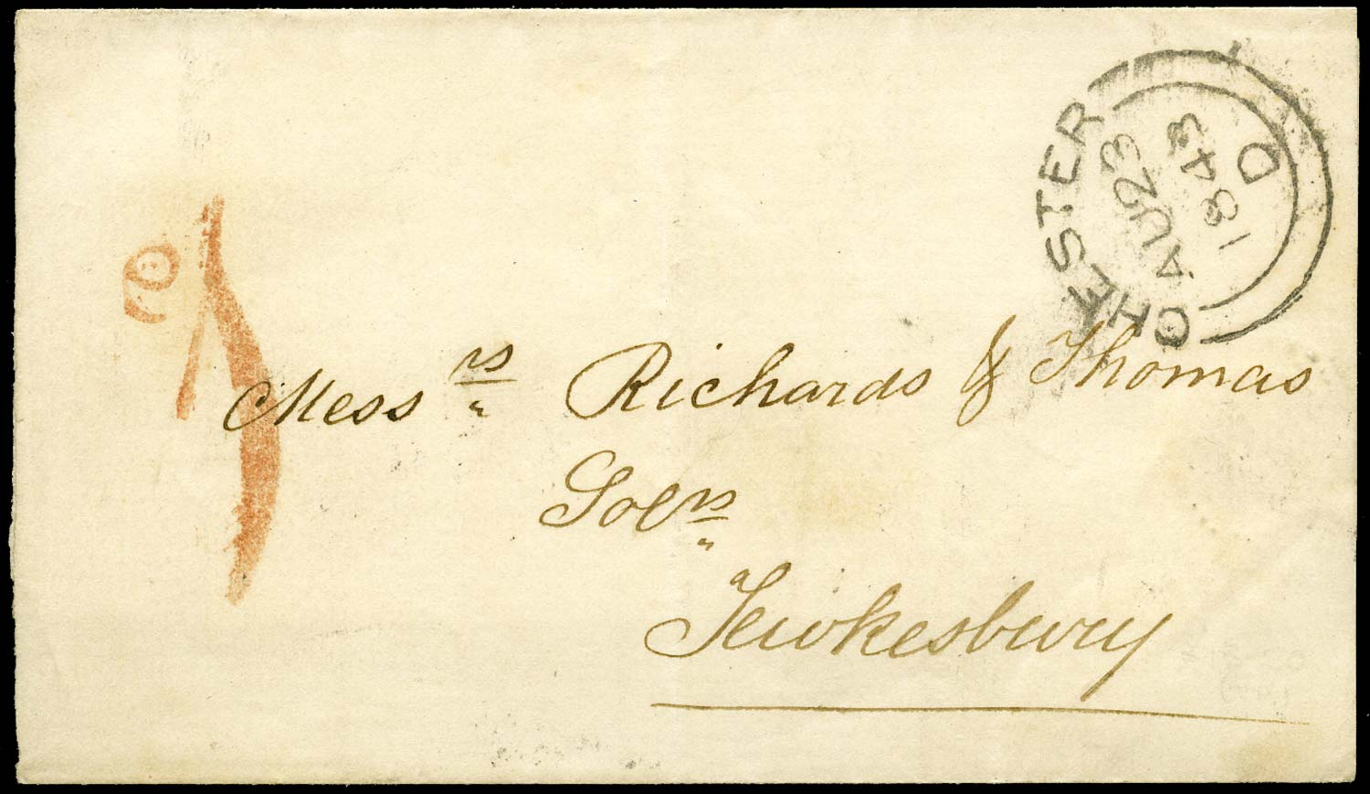 GB 1843 Pre-Stamp - Chester Uniform Penny Post 'd1' (Type b)