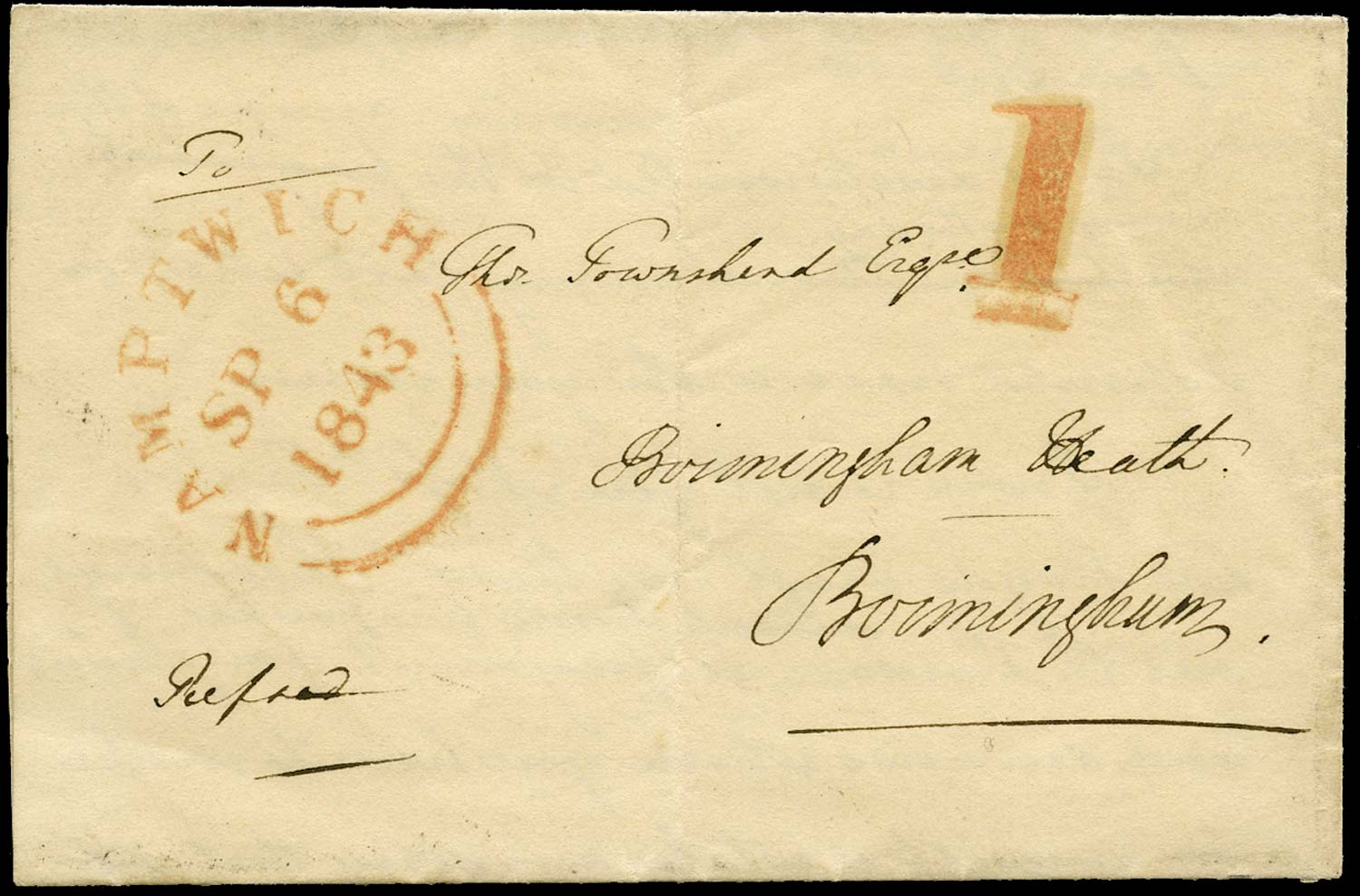 GB 1843 Pre-Stamp - Namptwich Uniform Penny Post '1' (Type a)