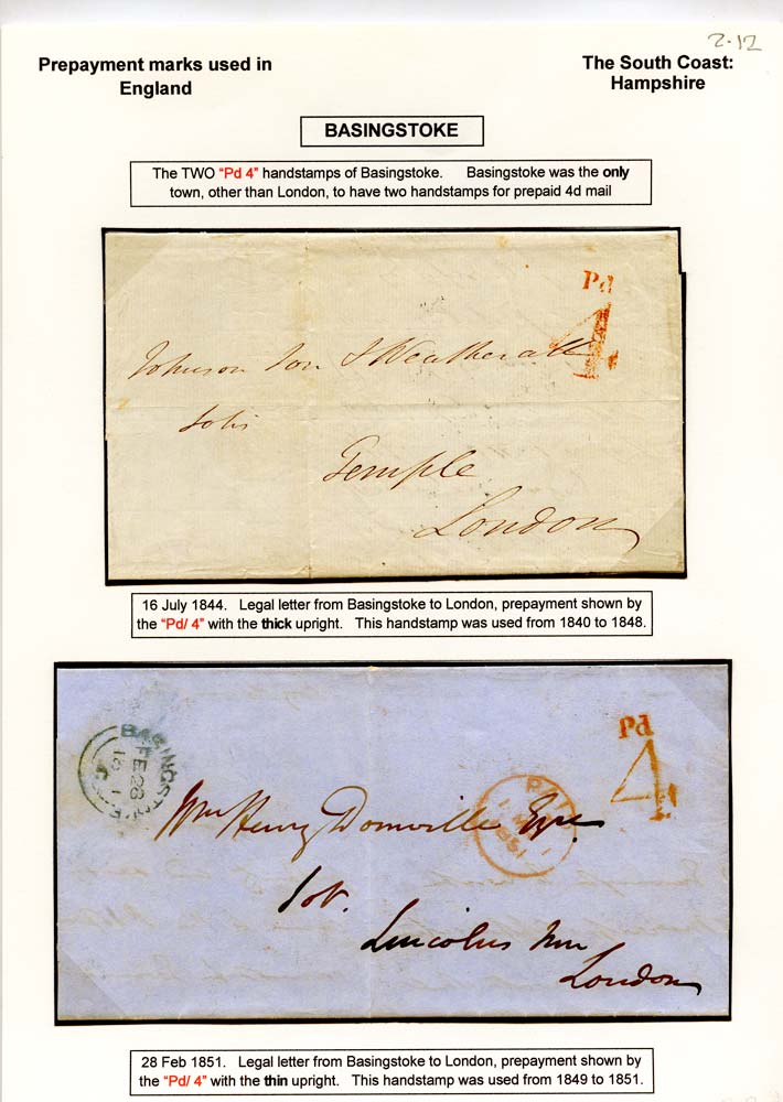GB 1843-51 Pre-Stamp - Basingstoke UPP 1d, 2d, and two 4d handstamps