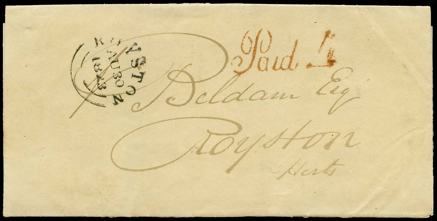 GB 1841 Pre-Stamp - Waltham Cross Uniform Penny Post 'Paid 4' handstamp