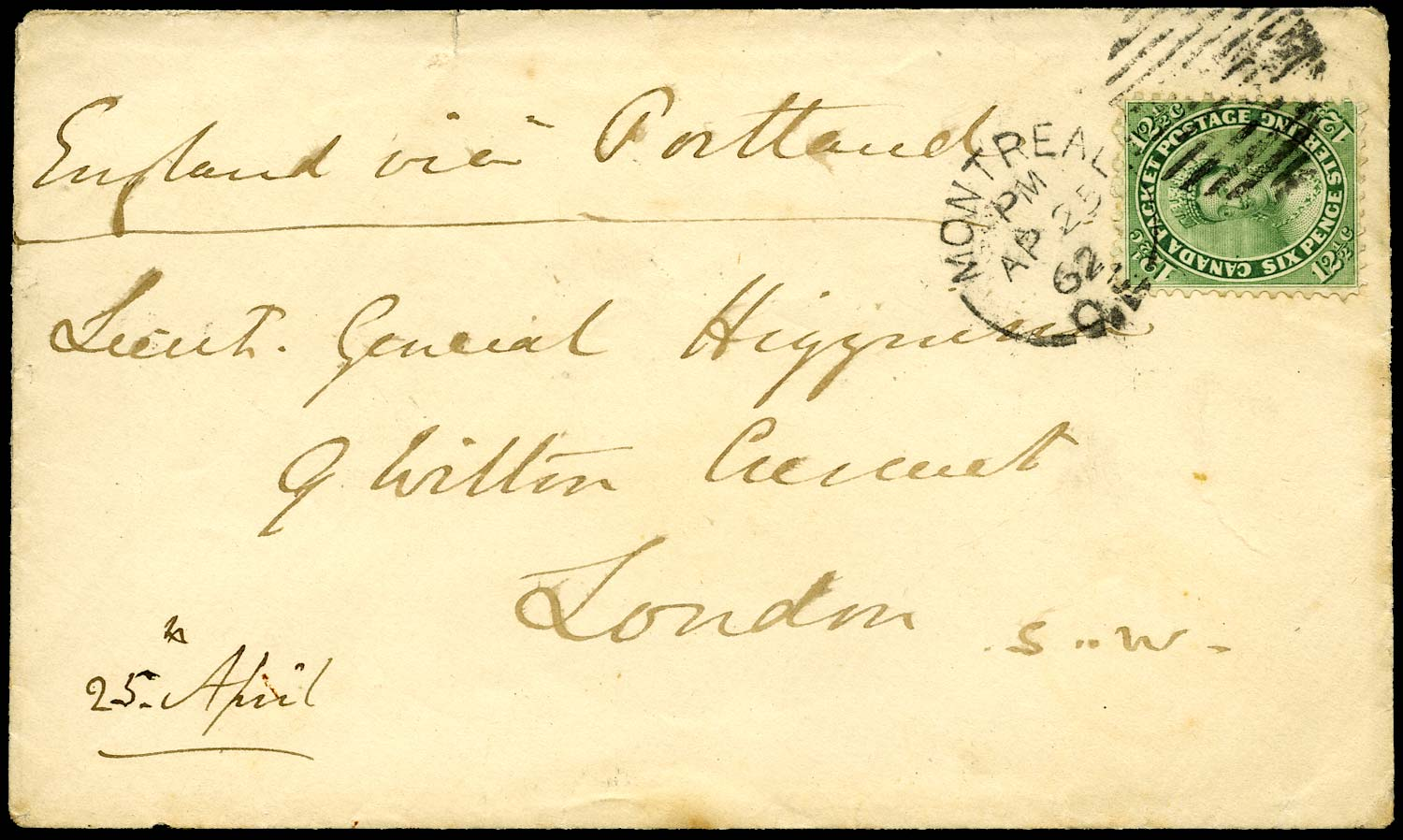 CANADA 1862  SG40 Cover from Montreal to England at 12½c rate