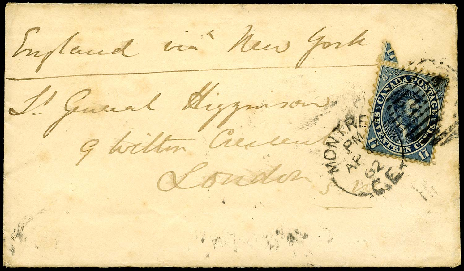 CANADA 1862  SG42 Cover from Montreal to England at 17c rate
