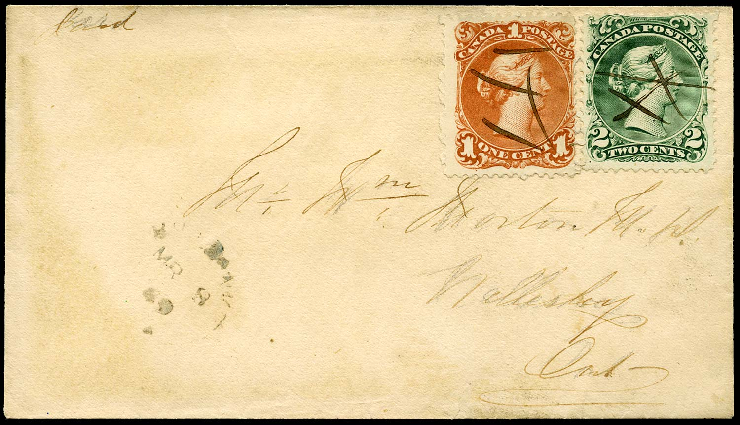CANADA 1869  SG55, 57 Cover from Millbank to Wellesley with Large Queen 1c, 2c