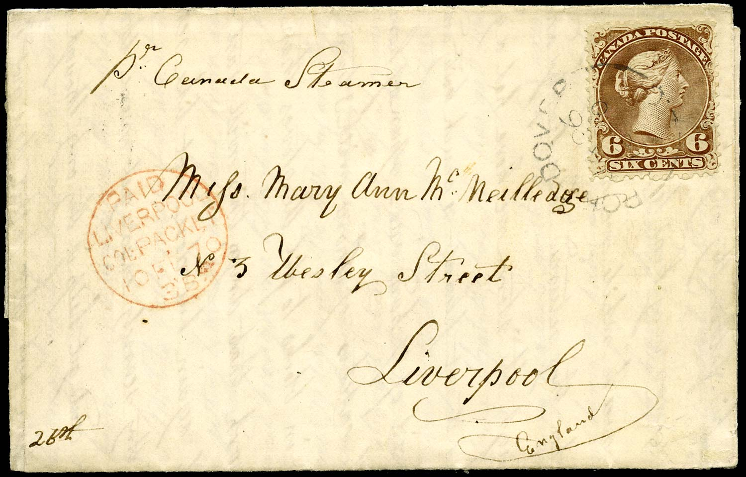 CANADA 1870  SG59b Cover from Port Dover to Liverpool with Large Queen 6c