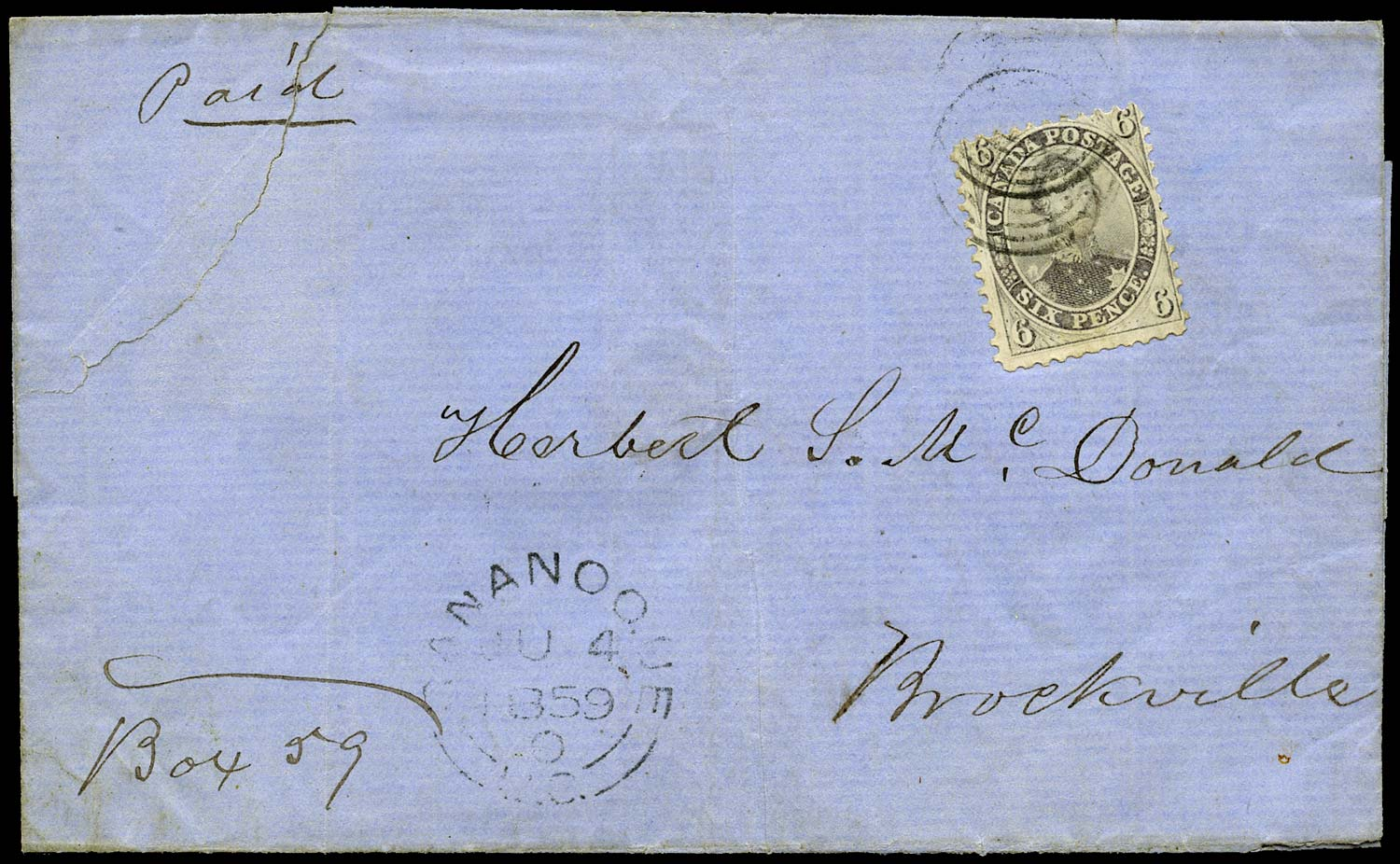 CANADA 1859  SG27a Cover from Gananoque with perforated 6d Prince Consort