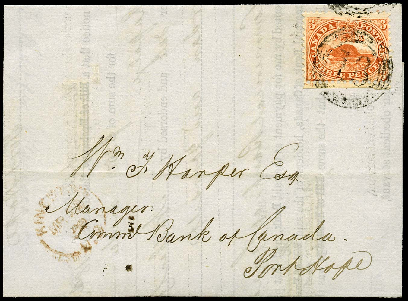 CANADA 1859  SG26 Cover from Kingston with perforated 3d red Beaver