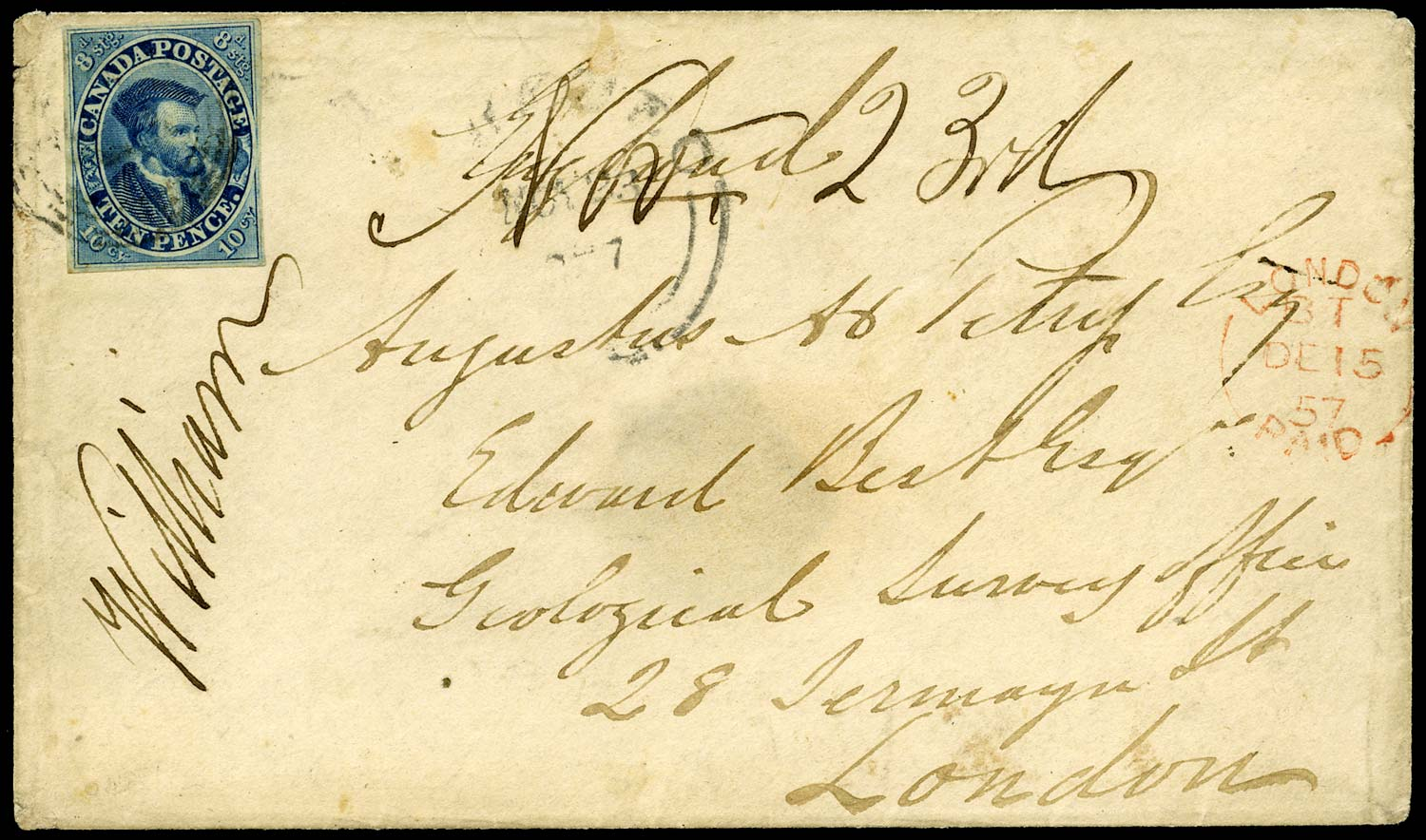 CANADA 1859  SG15 Cover from Quebec to London with 10d Jacques Cartier