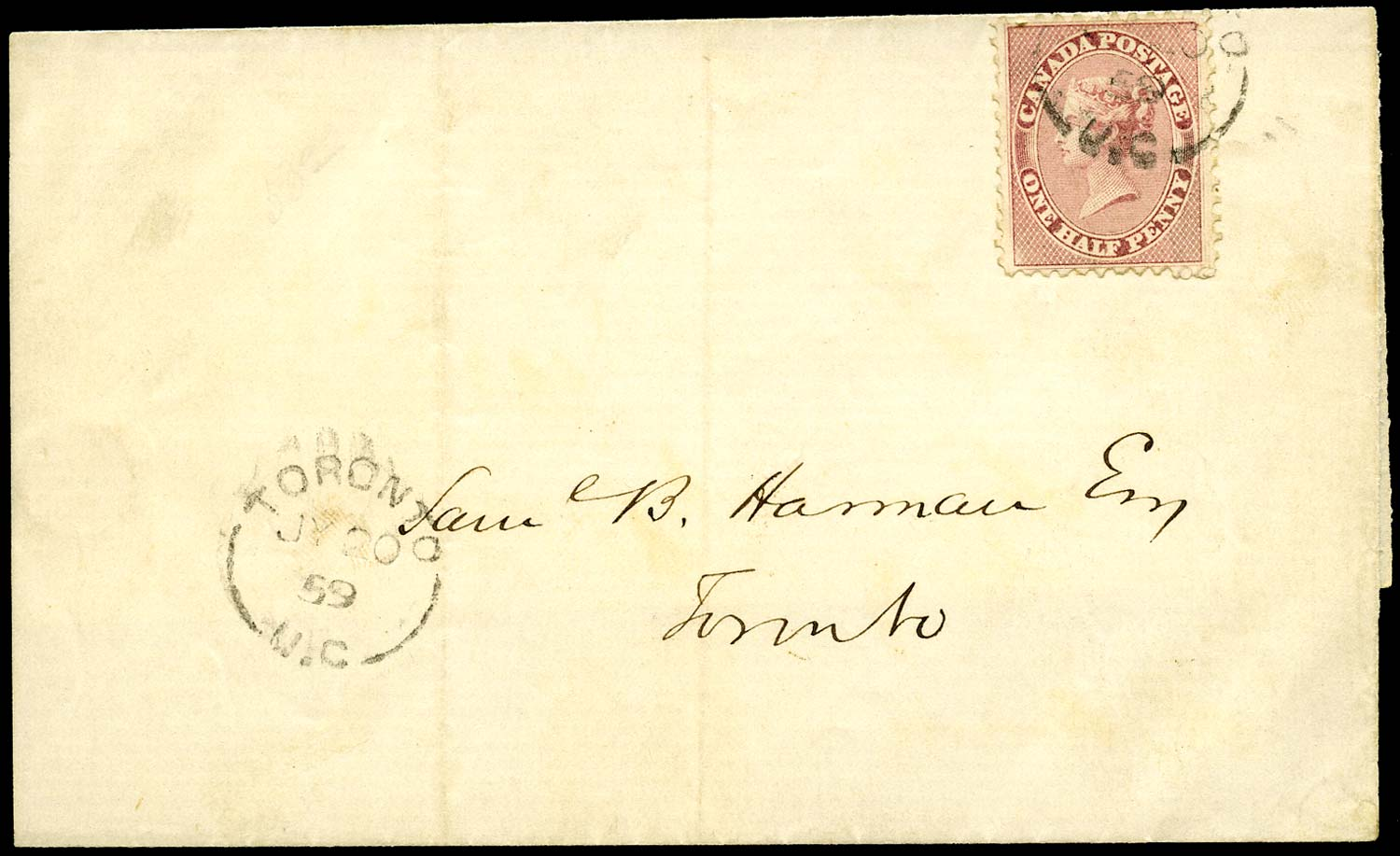 CANADA 1859  SG25 Cover from Toronto with perforated ½d deep rose
