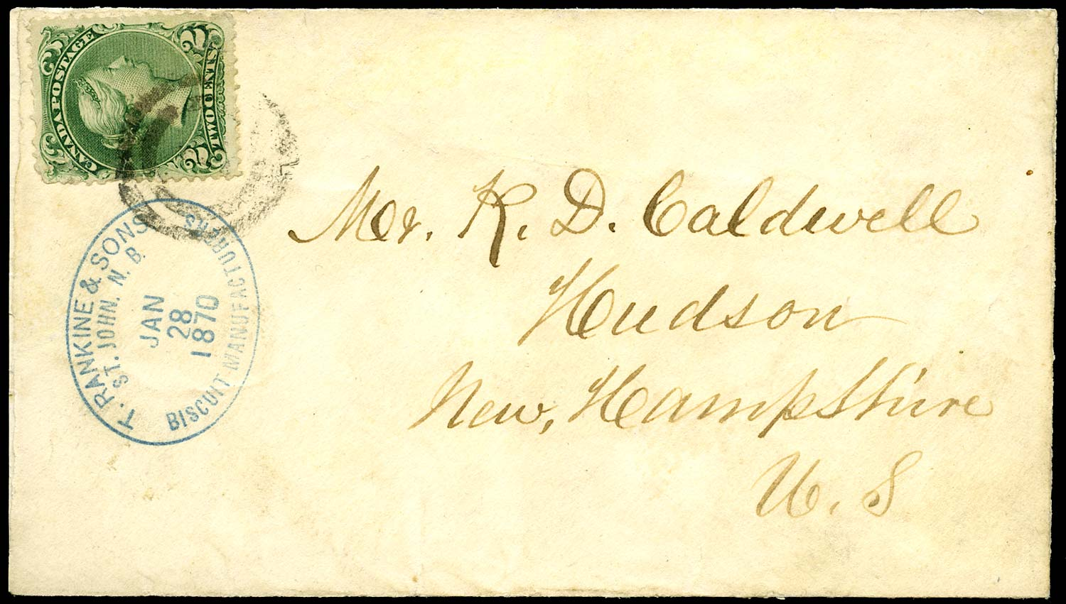 CANADA 1870  SG57d Cover at the TRANSIENT NEWSPAPER rate with 2c Large Queen