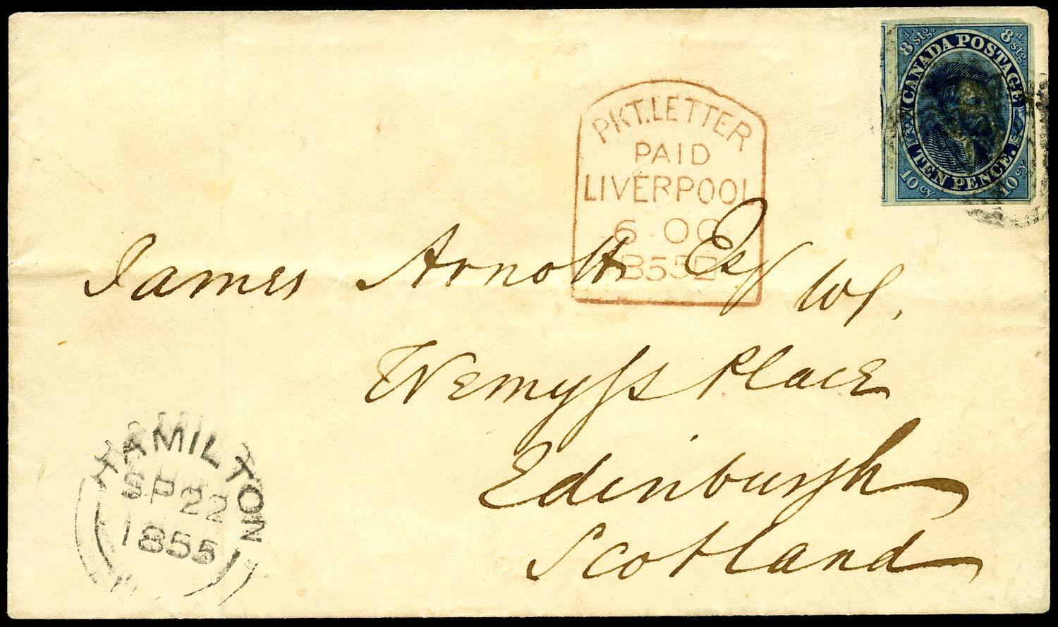 CANADA 1858  SG15 Cover from Hamilton to Scotland with 10d Jacques Cartier