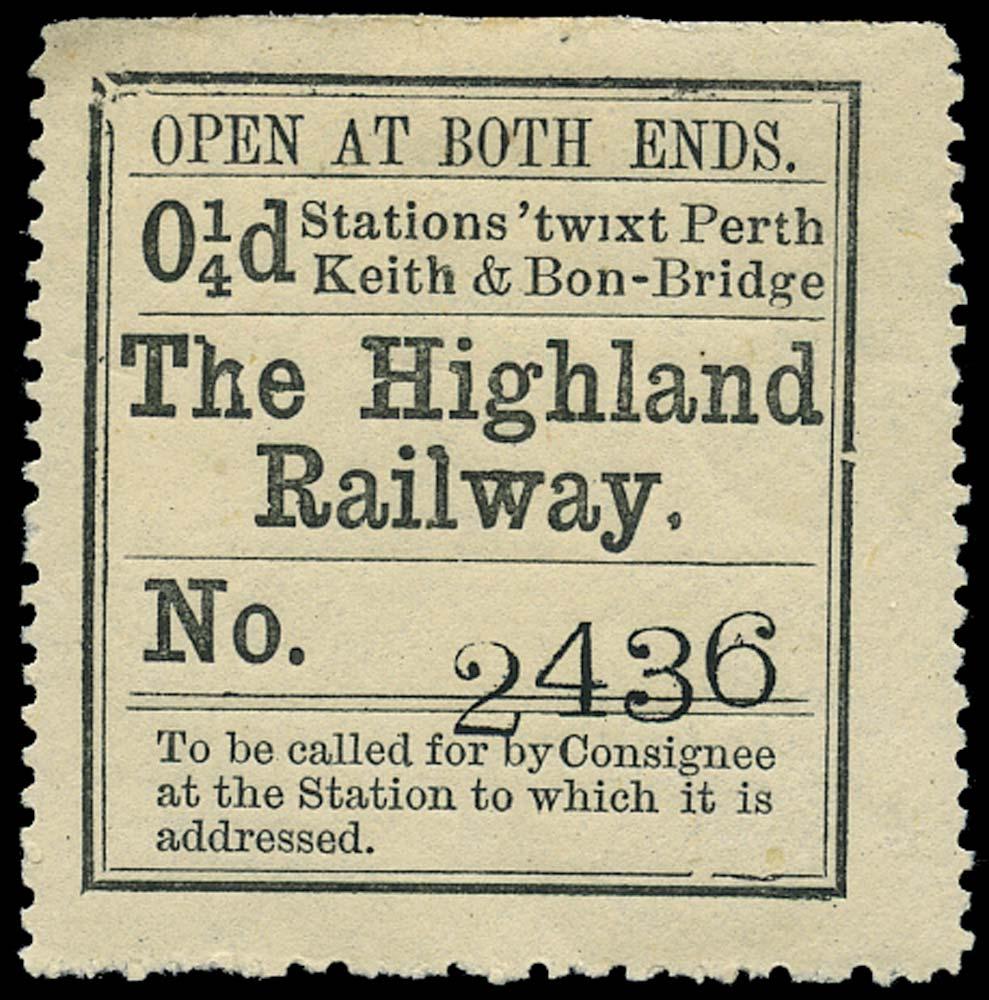 GB 1874 Railway - Highland Railway 'twixt Perth, Keith & Bon
