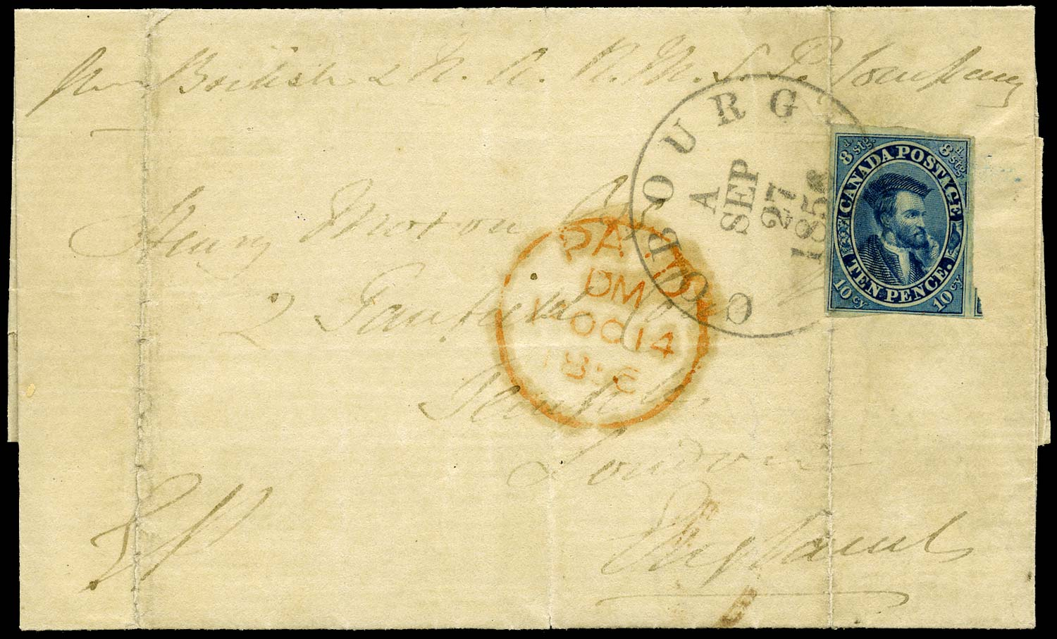 CANADA 1856  SG15 Cover from Cobourg to England with 10d Jacques Cartier