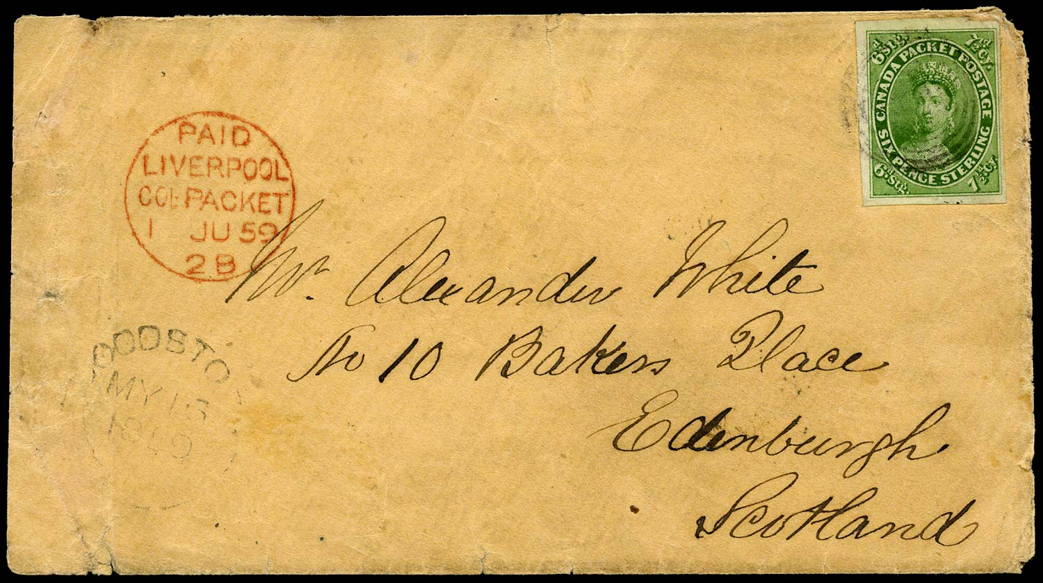 CANADA 1859  SG12 Cover from Woodstock to Scotland with 7½d yellow-green