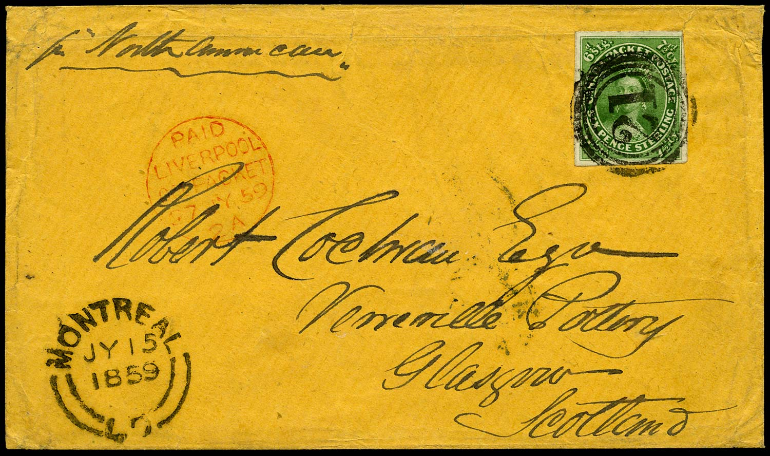 CANADA 1859  SG12 Cover from Montreal to Scotland with 7½d yellow-green