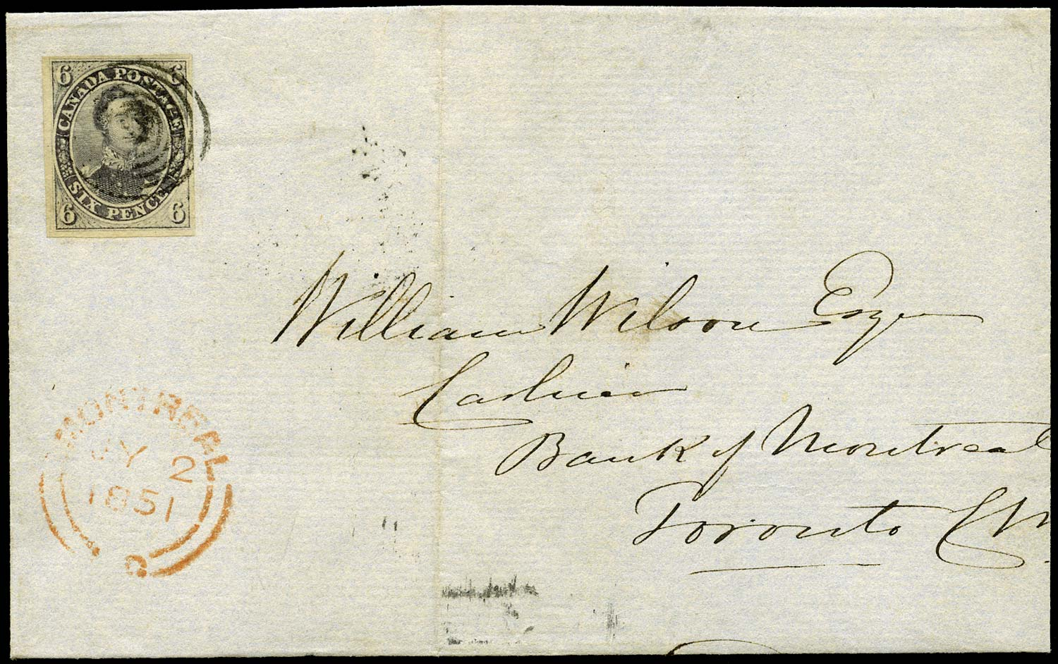 CANADA 1851  SG2 Cover from Montreal to Toronto with 6d Prince Consort