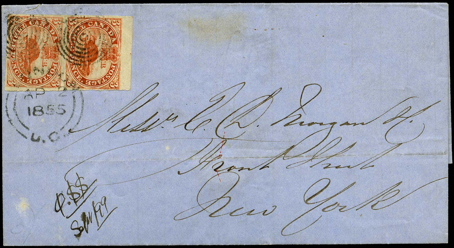 CANADA 1855  SG5 Cover from London to New York with 3d Beaver pair