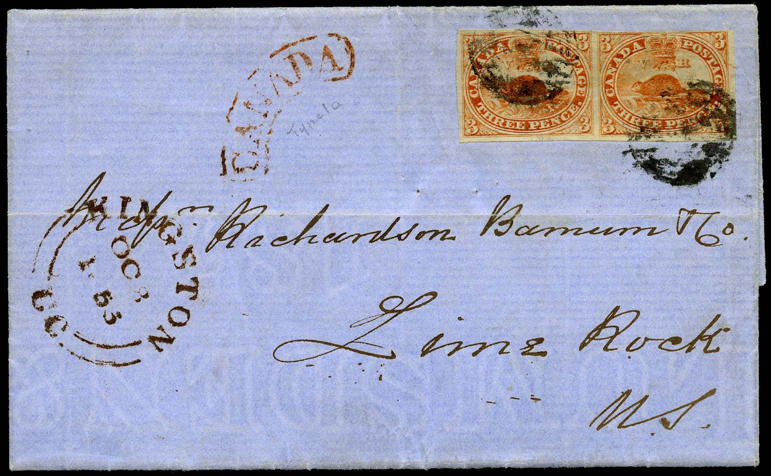 CANADA 1855  SG7 Cover from Kingston to Lime Rock with 3d Beaver pair