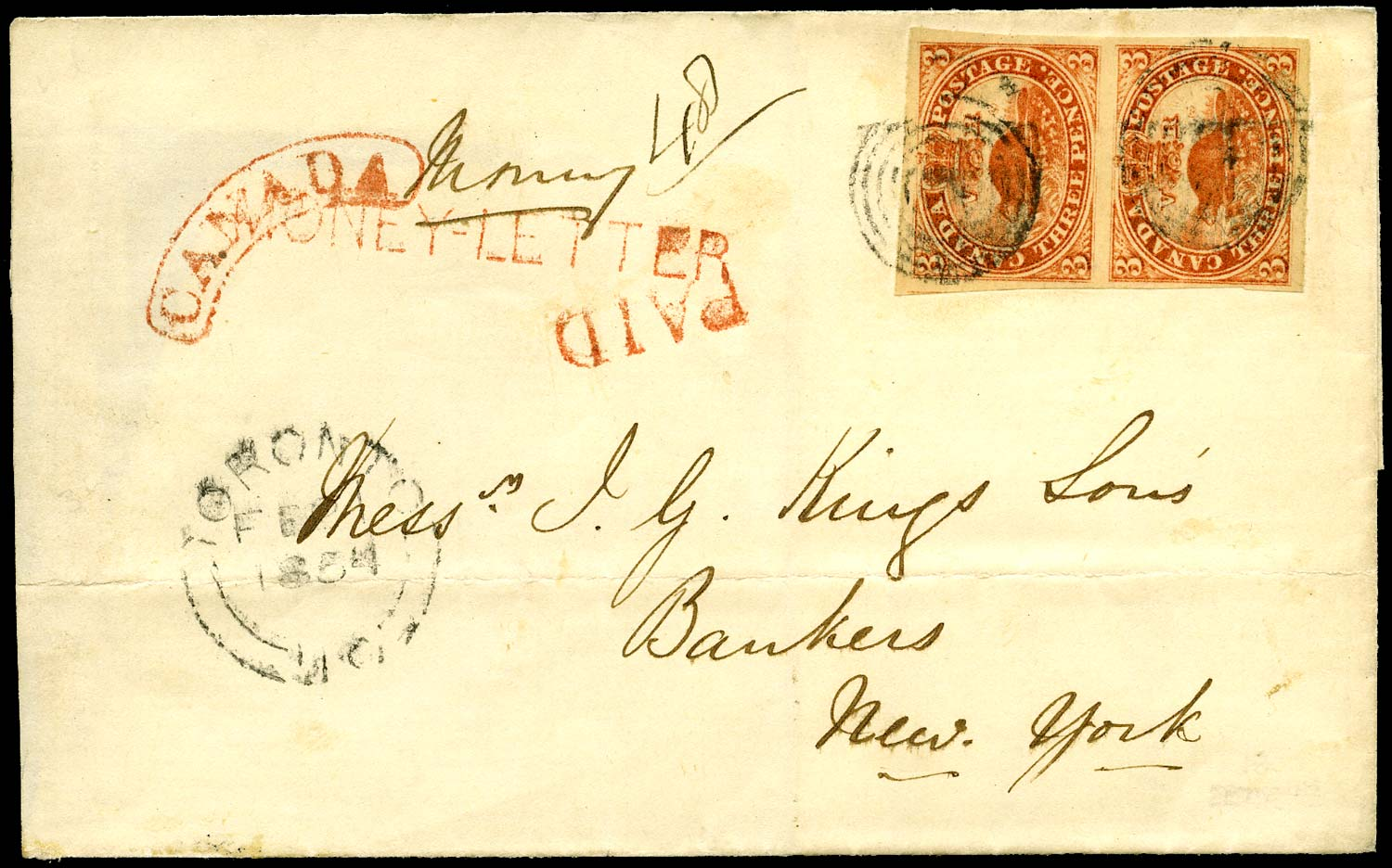 CANADA 1854  SG8 Cover money letter from Toronto to New York