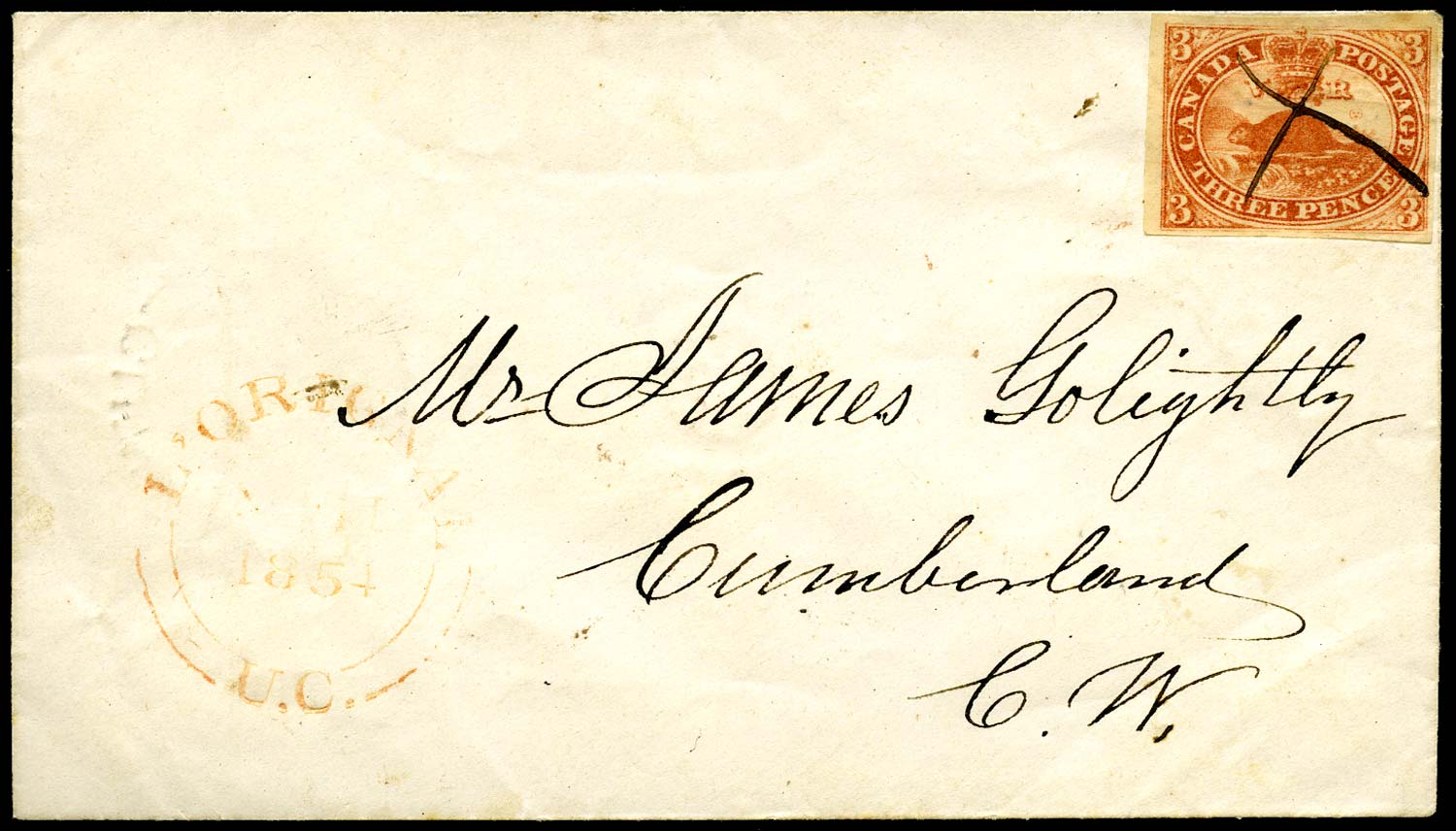 CANADA 1854  SG6 Cover from L'Orignal to Cumberland with 3d Beaver