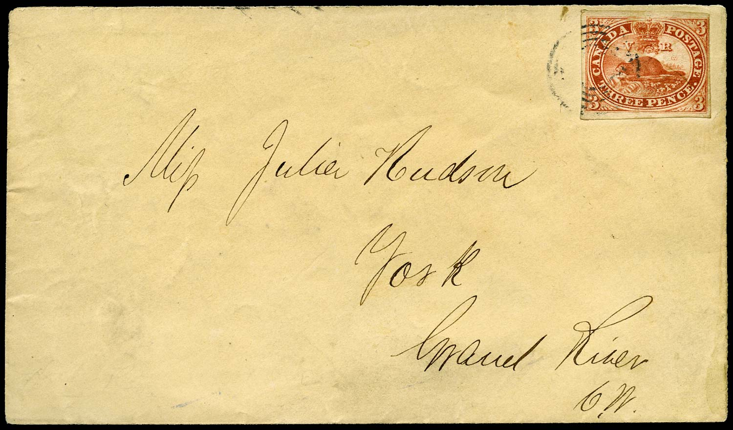 CANADA 1854  SG8 Cover from Paris to York with illegally reused 3d Beaver