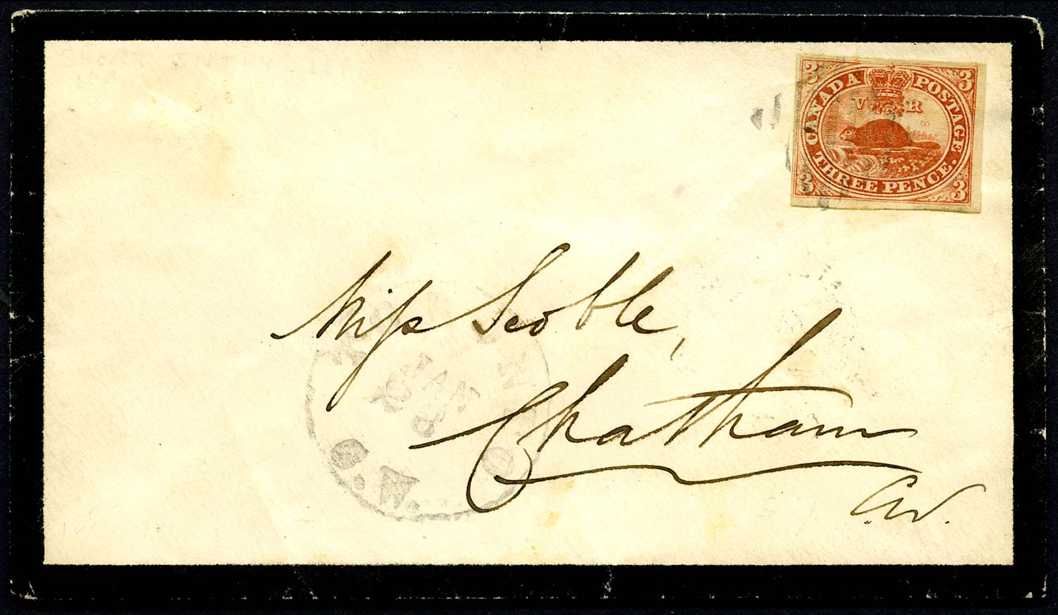 CANADA 1858  SG18 Cover from Toronto to Chatham with 3d Beaver