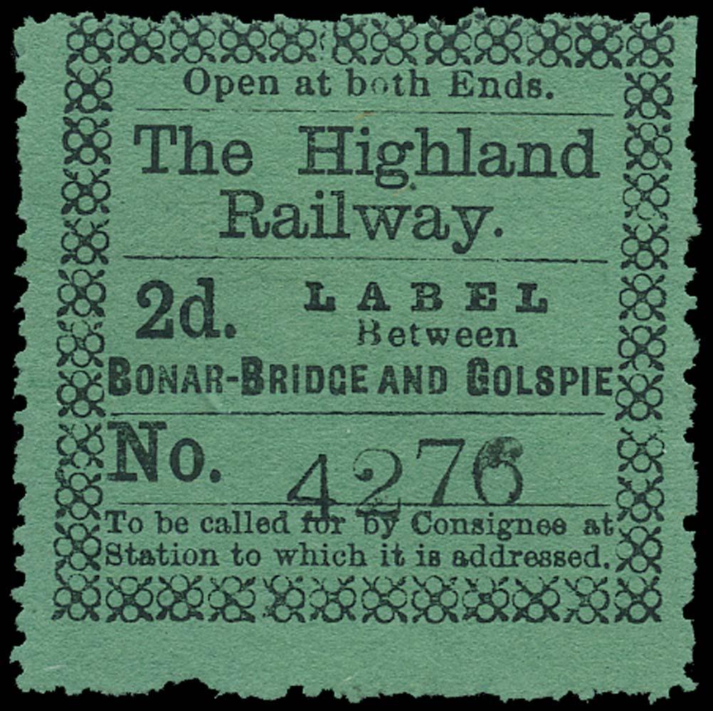 GB 1874 Railway - Highland Railway Bonar-Bridge and Golspie
