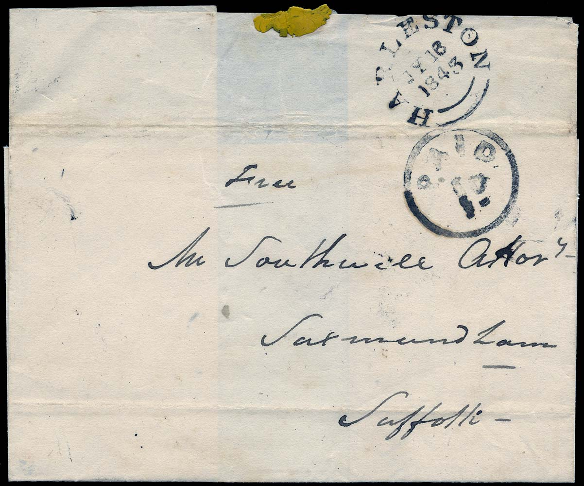 GB 1844 Pre-Stamp - Harleston Uniform Penny Post 'PAID/1D' (Type c)