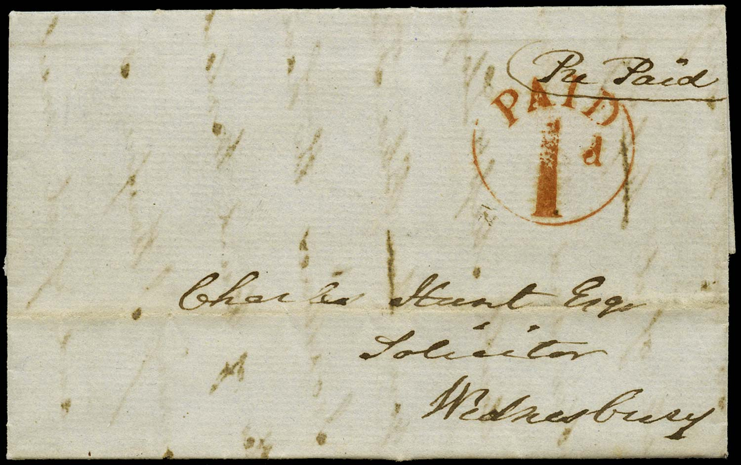 GB 1840 Pre-Stamp - Wednesbury Uniform Penny Post 'PAID/1d' handstamp (type a)