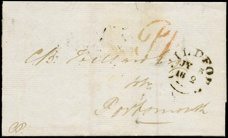 GB 1842 Pre-Stamp -Guildford Uniform Penny Post 'P1' handstamp (type a)