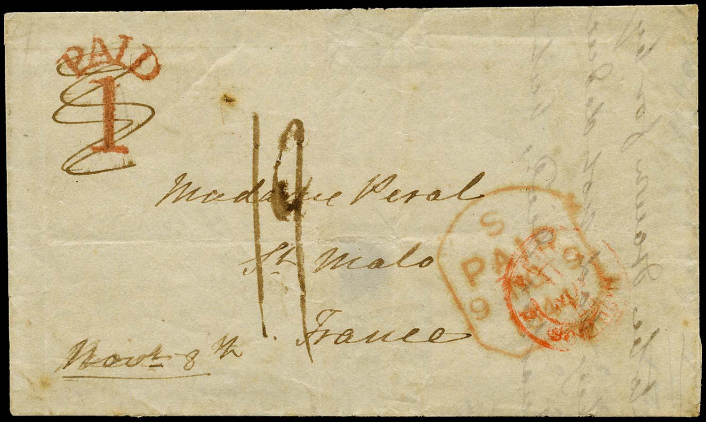 GB 1844 Pre-Stamp - Marlborough Uniform Penny Post 'PAID/1' handstamp (type c)