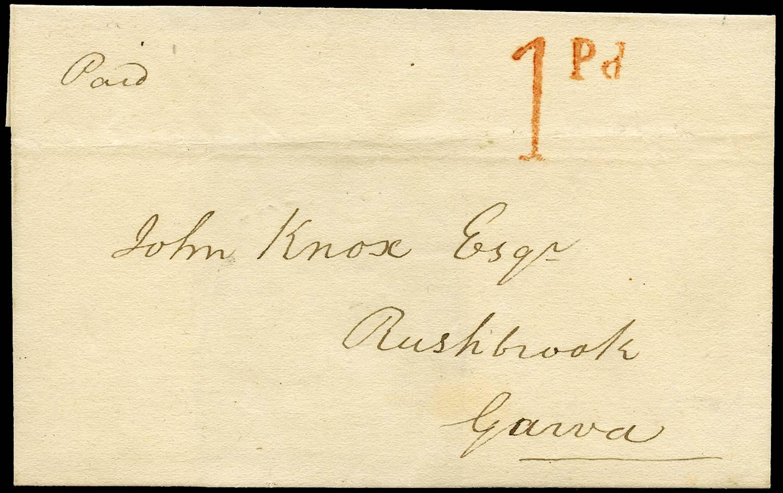 GB 1840 Pre-Stamp - Portglenone Uniform Penny Post '1Pd' handstamp