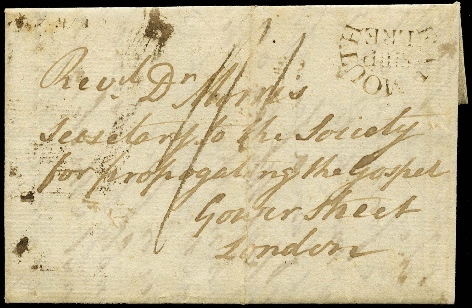 GB 1795 Pre-Stamp - Falmouth Ship Lre. (Robertson type S2)
