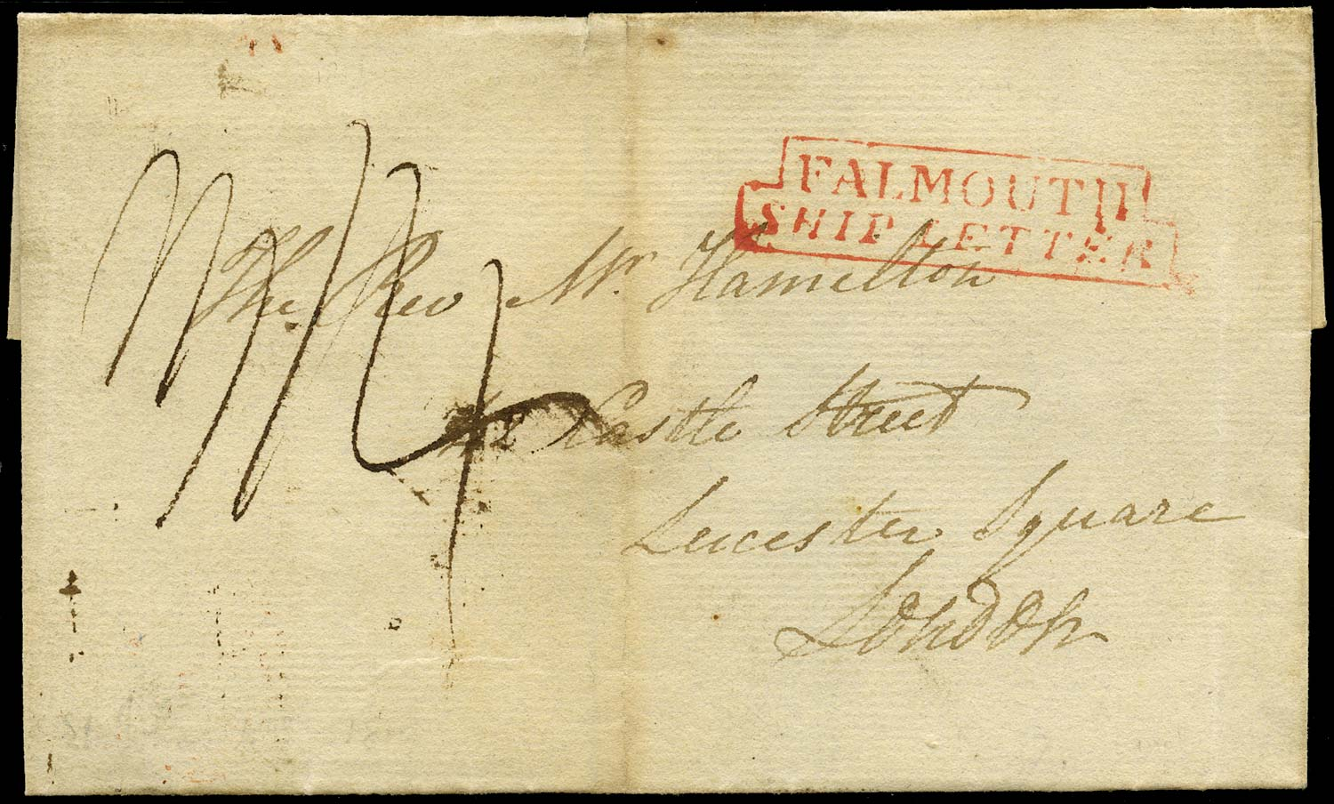 GB 1819 Pre-Stamp - Falmouth Ship Letter. (Robertson type S6)