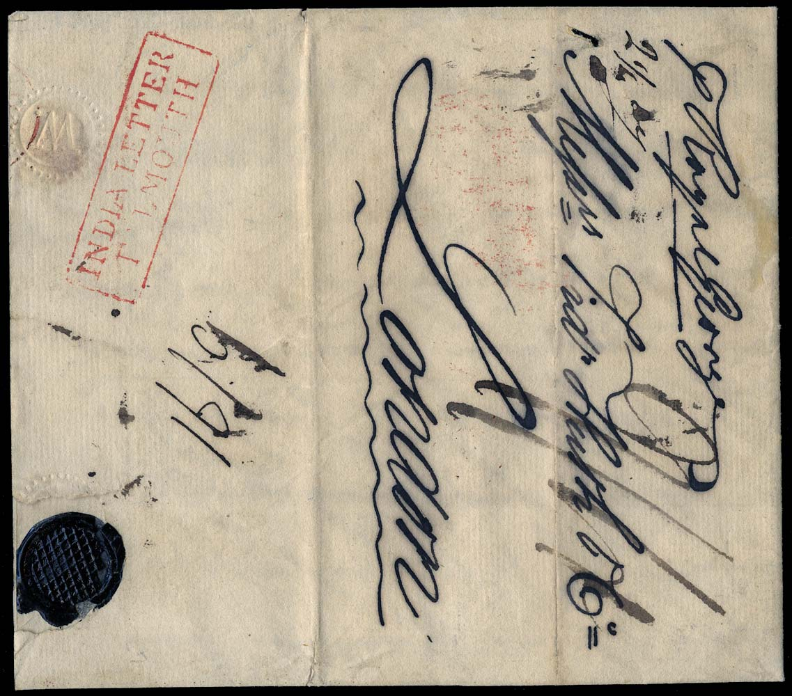 GB 1829 Pre-Stamp - India Letter/Falmouth. (Robertson type In.1)