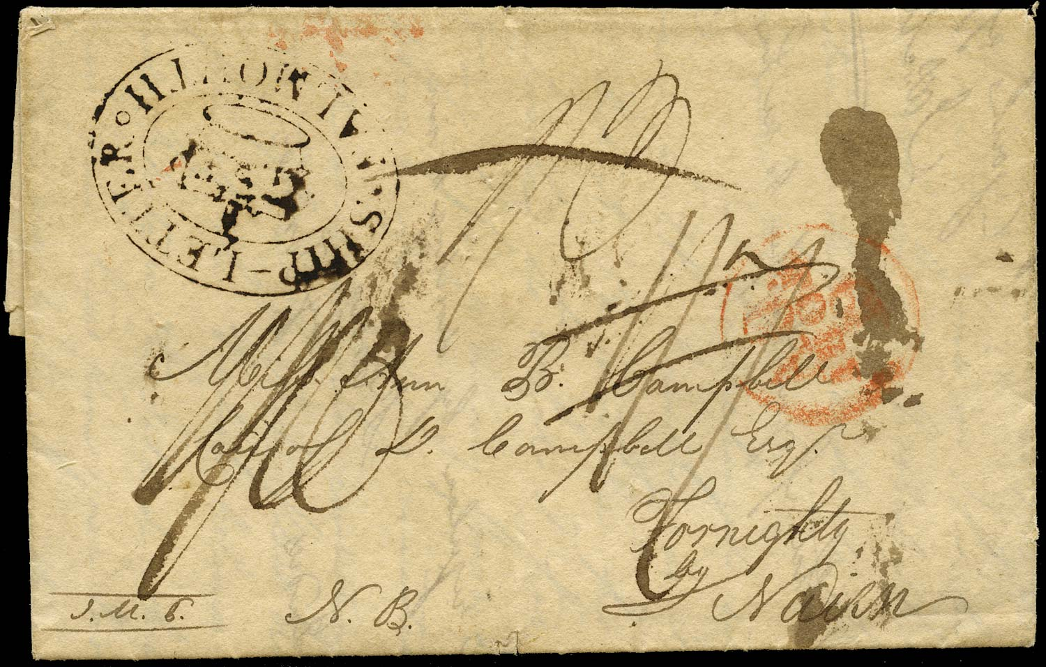 GB 1805 Pre-Stamp - SHIP-LETTER/Crown/FALMOUTH (Robertson type S3a)