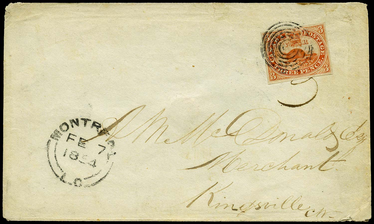 CANADA 1854  SG5 Cover from Montreal to Kingsville with 3d Beaver