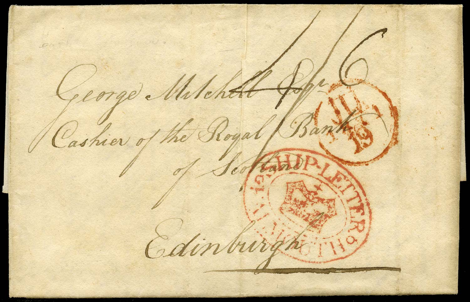 GB 1811 Pre-Stamp - SHIP-LETTER/Crown/FALMOUTH (Robertson type S4)