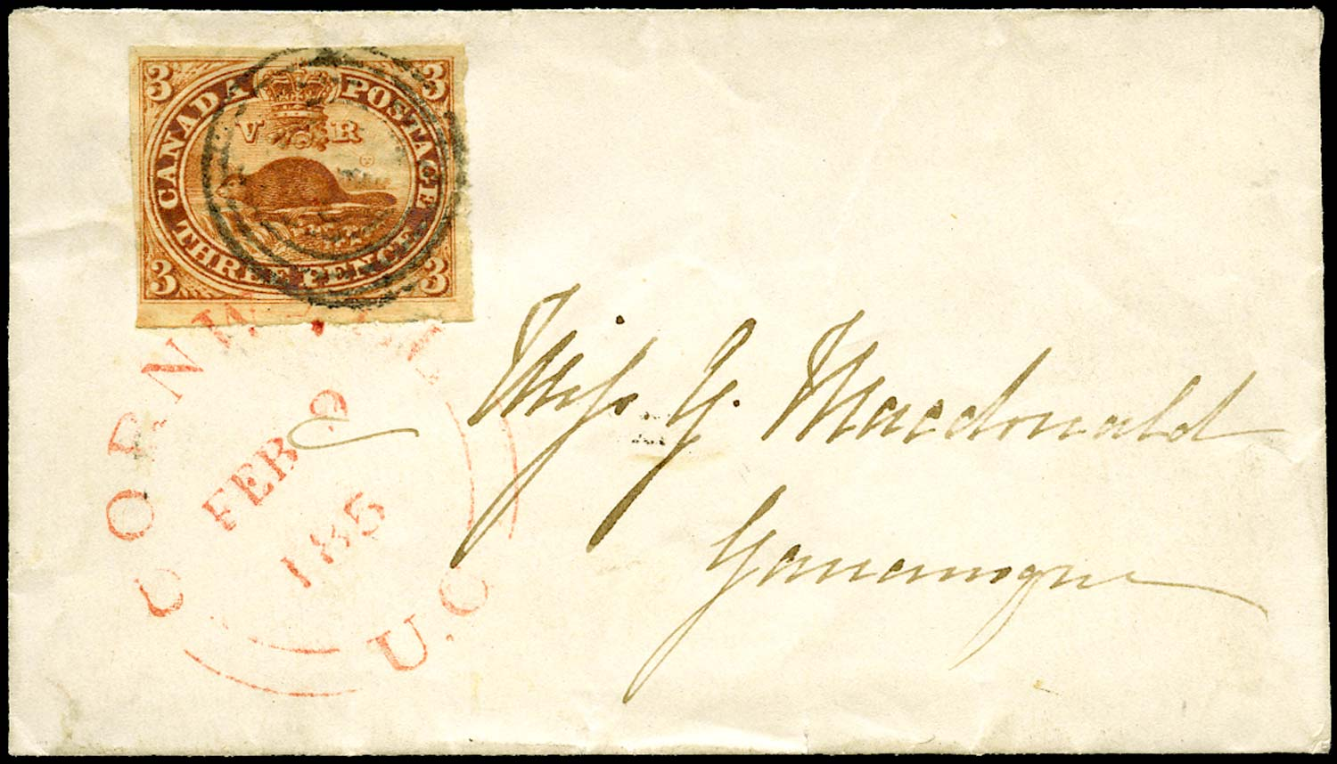 CANADA 1856  SG8 Cover from Cornwall to Gananoque with 3d Beaver