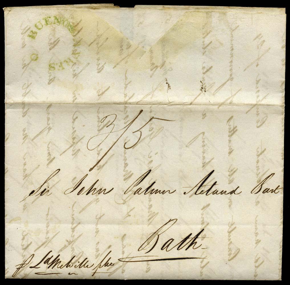 GB 1829 Pre-Stamp - Falmouth 'BUENOS AYRES fleuron handstamp