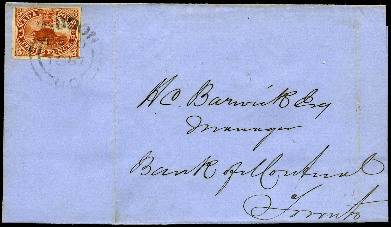 CANADA 1857  SG18 Cover from London to Toronto with 3d Beaver