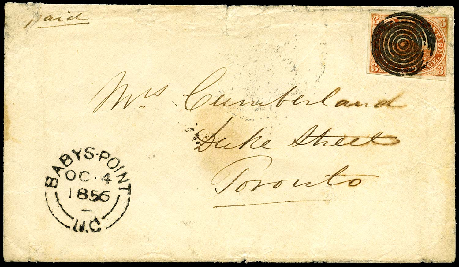 CANADA 1856  SG8 var Cover from Babys Point with 3d Beaver major re-entry